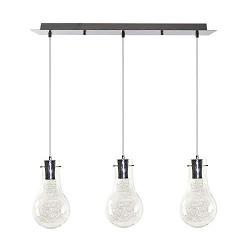 *3-lichts Hanglamp gloeilamp chroom-glas