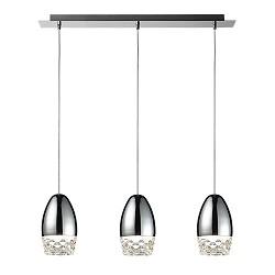 *3-lichts hanglamp chroom ei met glas
