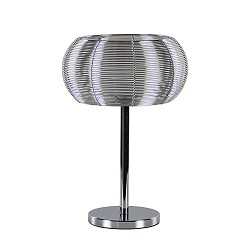 *Tafellamp alu draad/glas + chroom