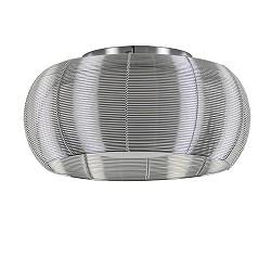Zilveren plafondlamp met glas en chroom