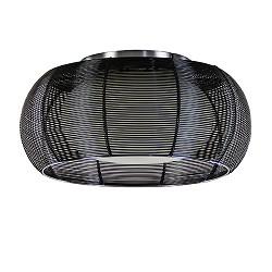 *Ronde zwarte draad plafondlamp met glas