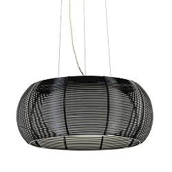 Zwart metalen hanglamp met chroom + glas