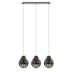 Hanglamp smokey glas met chroom 3-licht