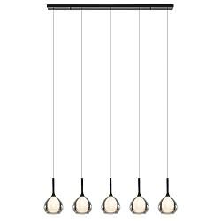 Moderne 5-lichts eettafelhanglamp zwart met dubbel glas