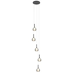 Strak klassieke videlamp 5-lichts zwart met dubbel glas