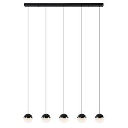 5-Lichts LED hanglamp zwart met diamant zand 3-standen dimbaar