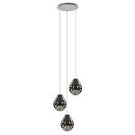 *Ronde hanglamp met smokey glas 3-lichts