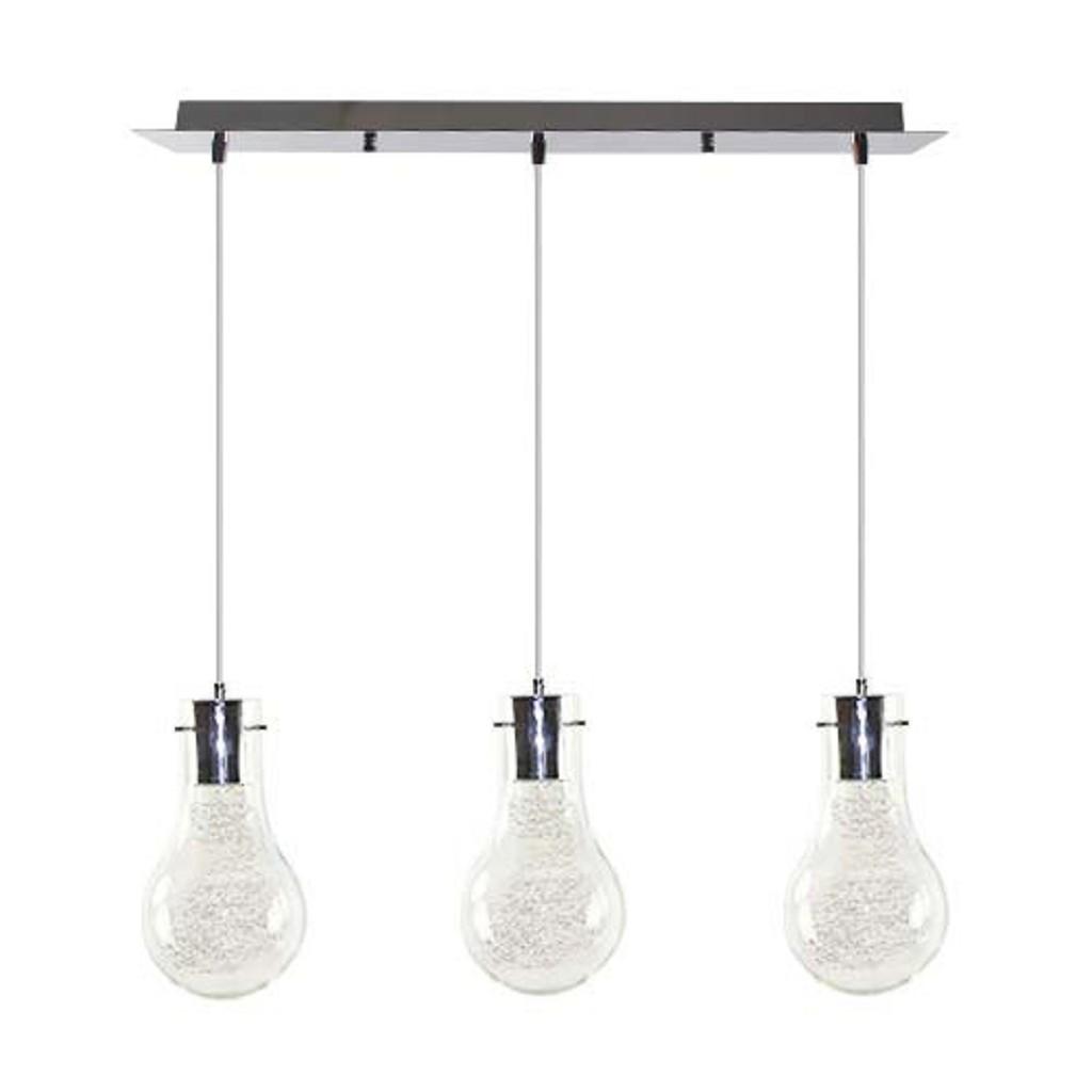3-lichts Hanglamp gloeilamp chroom-glas