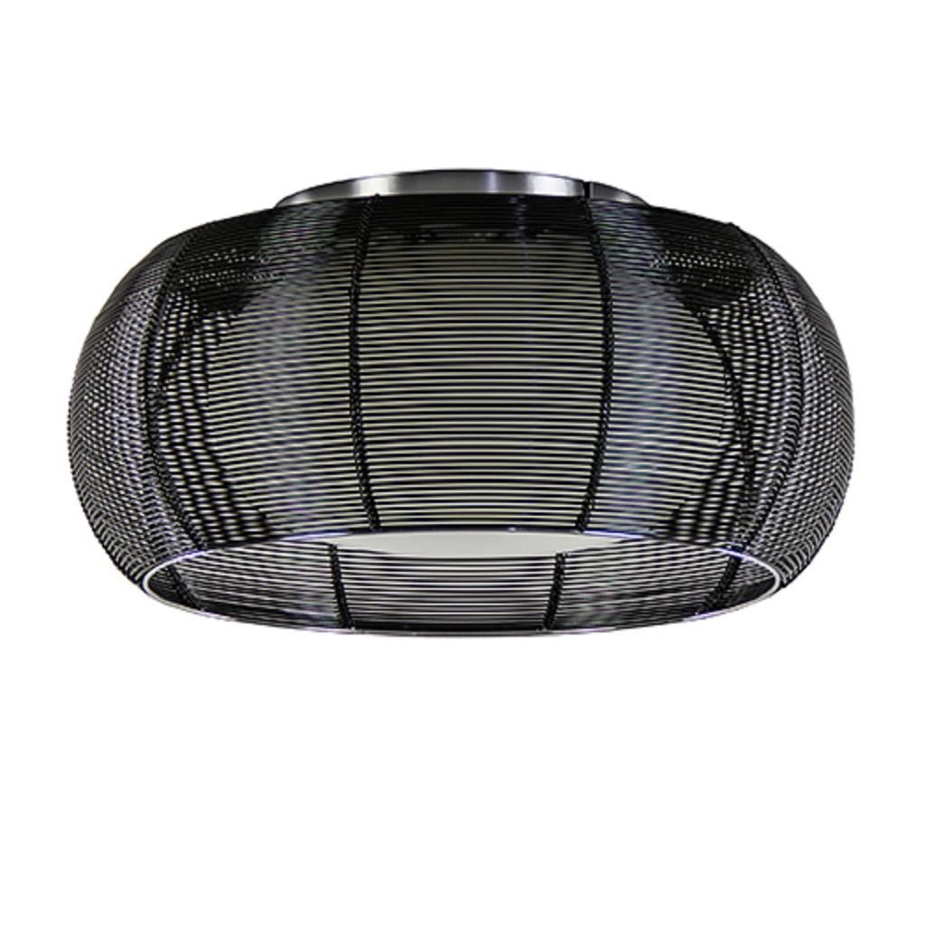 Rond zwarte draad plafonnière met glas