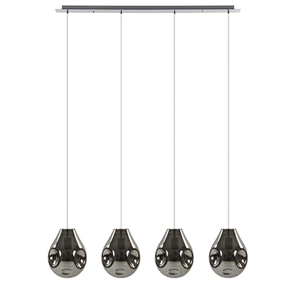 Luxe glazen eettafel hanglamp smokey
