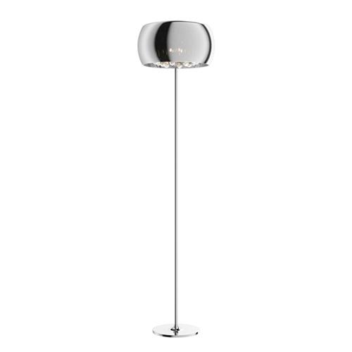 Luxe vloerlamp Pearl chroom met glas