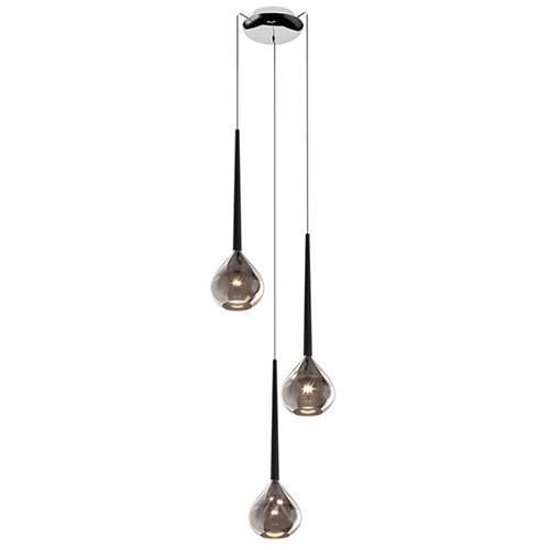 Smokey glazen hanglamp rond met chroom