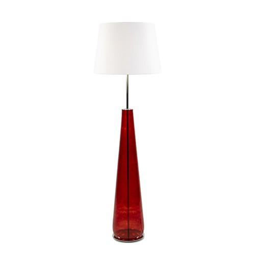 *Rode vloerlamp glas met witte kap