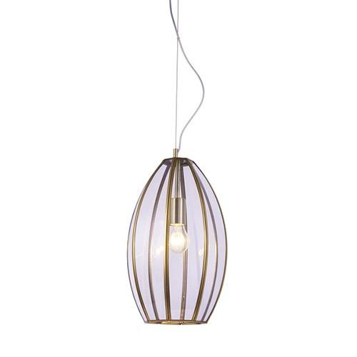 *Klassiek hanglamp brons met glas