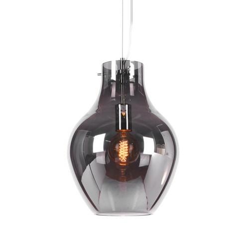 Smokey hanglamp glas met chroom eettafel