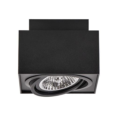 Vierkante opbouwspot zwart 1-lichts