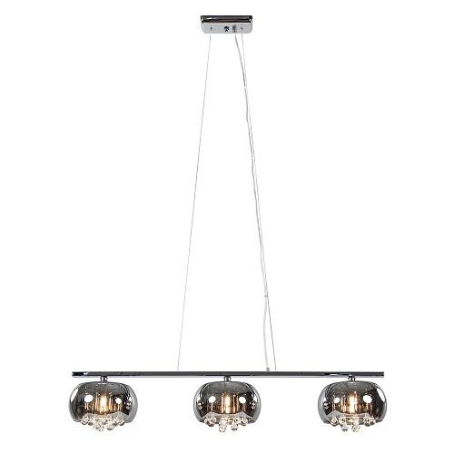 3-Lichts eettafelhanglamp Pearl smoke/chroom