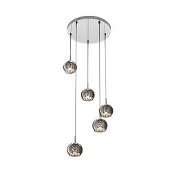 *Ronde hanglamp Pearl chroom/smokey glas