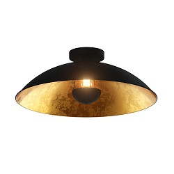 Grote zwarte plafondlamp met goud