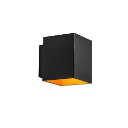 *Kleine vierkante wandlamp zwart - goud