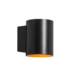 *Ronde wandlamp zwart met goud