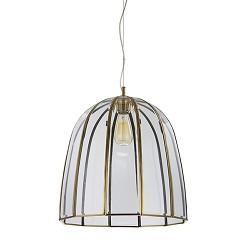 *Bronzen hanglamp met glas groot