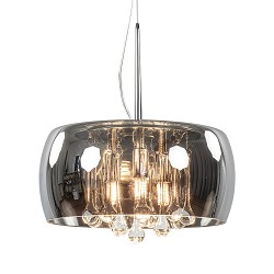 Hanglamp Pearl smoke glas met chroom 28 cm