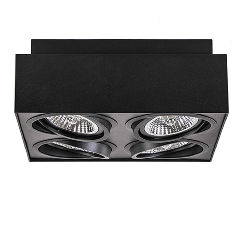 Plafondspot box zwart 4x gu10-111