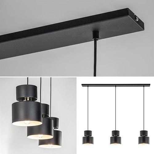 3-Lichts eettafelhanglamp zwart met goud accent