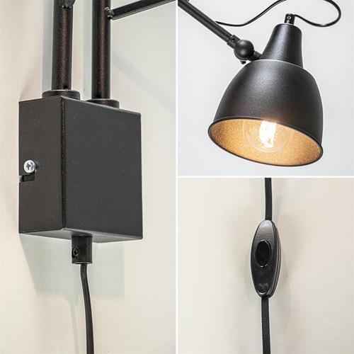 Zwarte wandlamp met 2 verstelbare armen