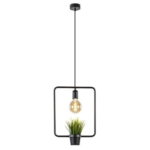 Hanglamp open frame zwart met planthouder