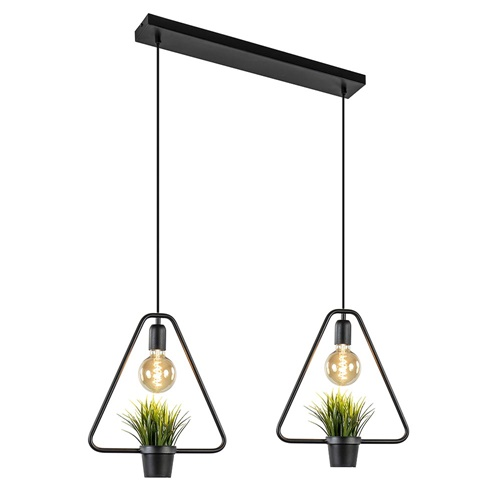 2-Lichts hanglamp driehoek inclusief plantjes