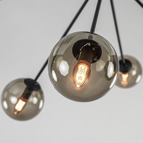 Grote plafondlamp zwart met smoke glazen bollen