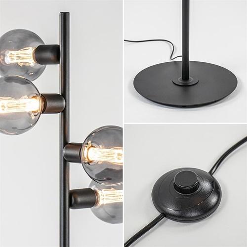 Mat zwarte vloerlamp 4-lichts exclusief lichtbron