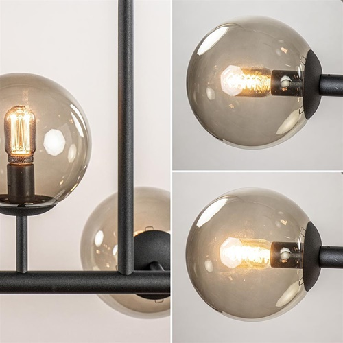 Grote 10-lichts hanglamp mat zwart met smoke glazen bollen