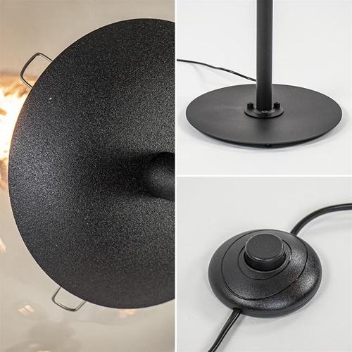 Grote vloerlamp 6-lichts zwart met smoke glazen bollen