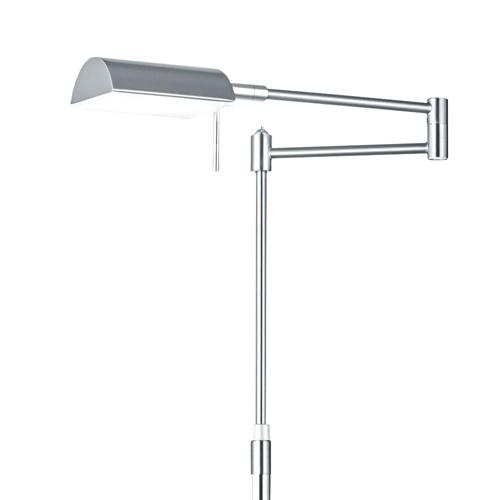 Staande LED leeslamp nikkel met zwenk-arm