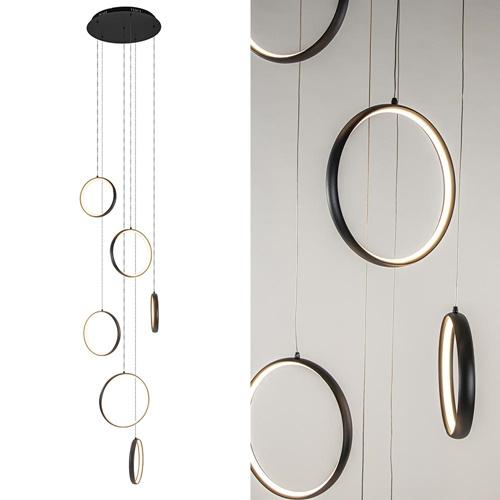 6-Lichts videlamp LED ringen zwart