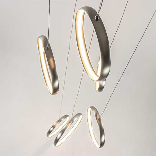 LED hanglamp vide met 6 nikkel ringen