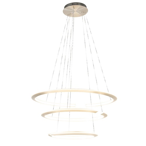 Moderne hanglamp rond met LED ringen nikkel