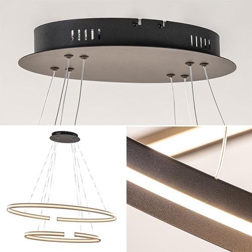 Eettafelhanglamp ovale LED ringen zwart