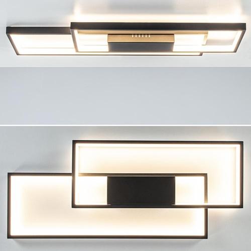 Plafondlamp 2xrechthoek zwart 3-step dim.