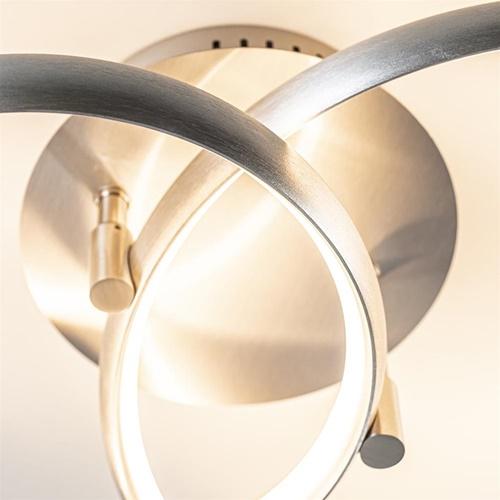 *Plafondlamp nikkel 2 ringen