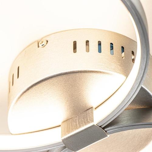 Plafondlamp nikkel 3 ringen 3-step dim.