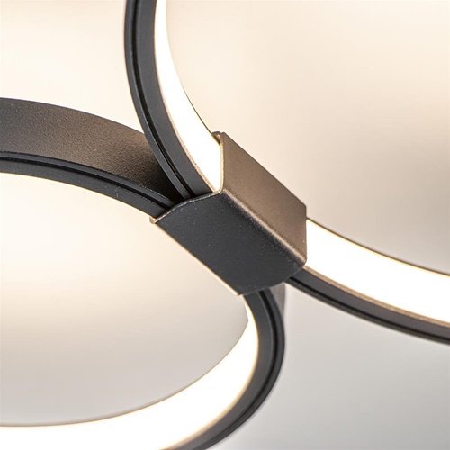 Plafondlamp zwart 3 ringen 3-step dim