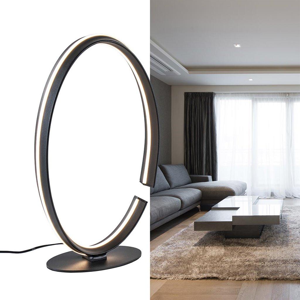 Moderne LED tafellamp ovaal zwart design