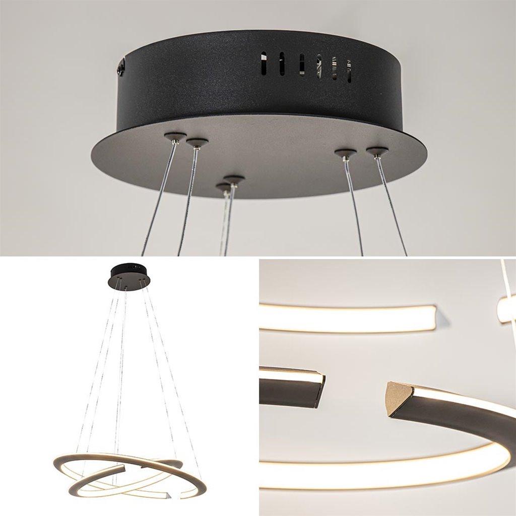 Design hanglamp LED zwarte ringen