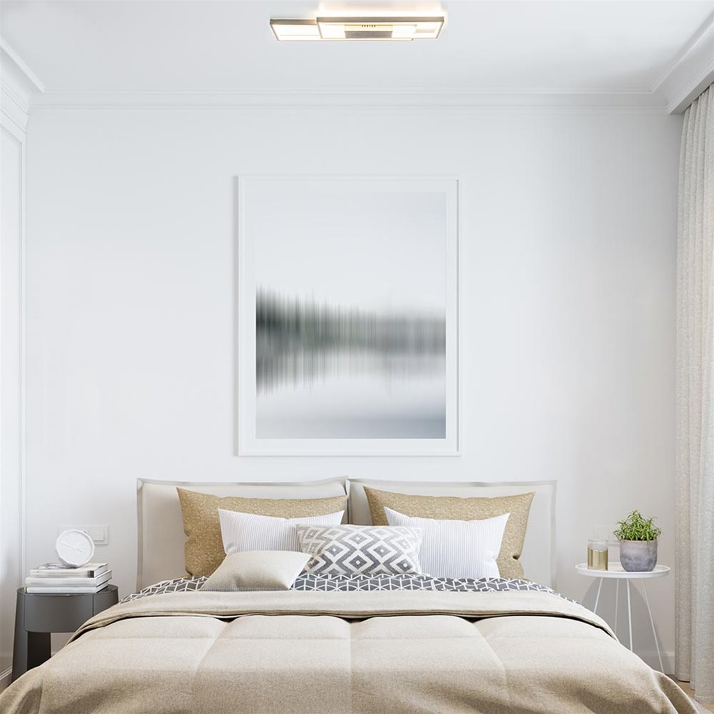 Moderne LED plafondlamp dubbele rechthoek nikkel