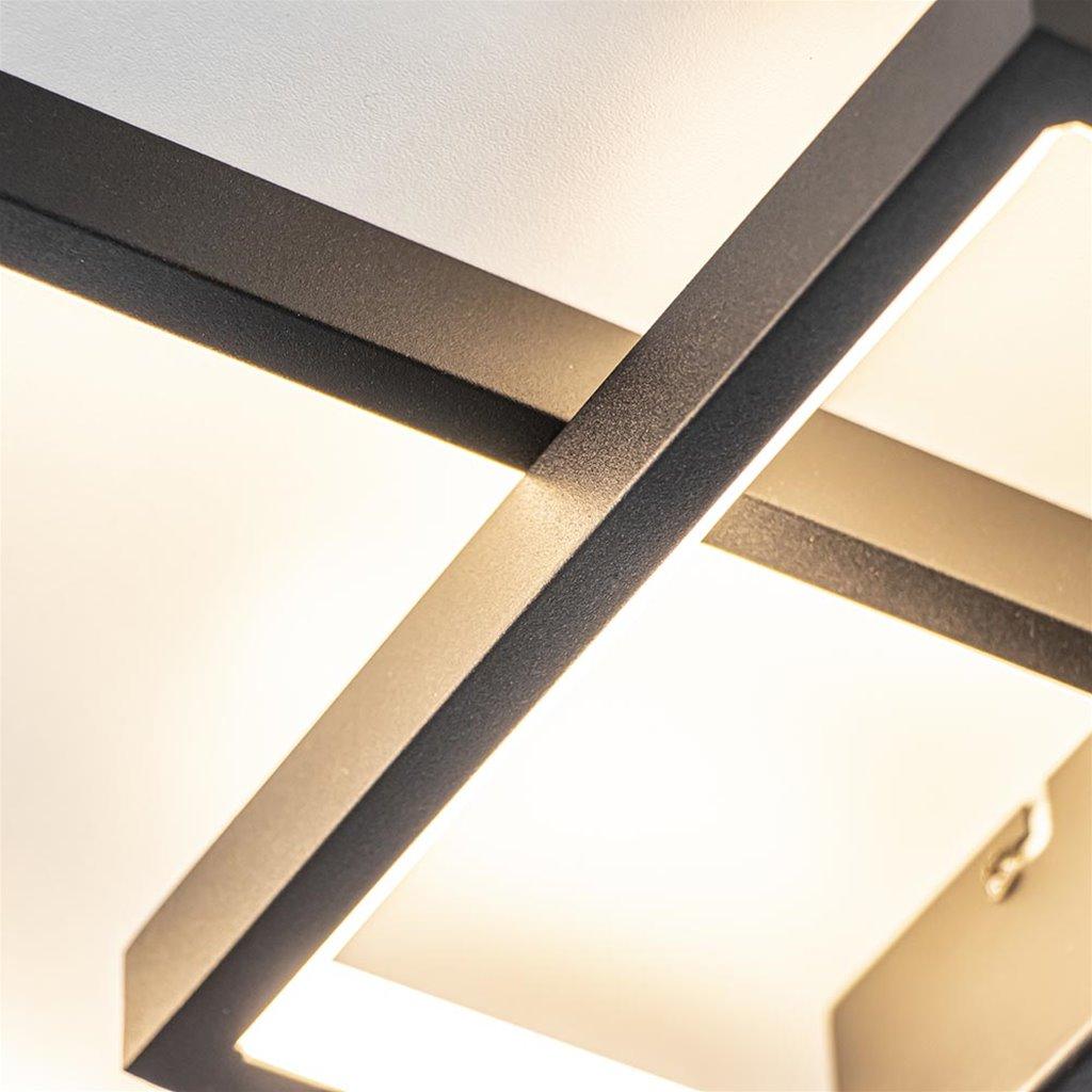 Plafondlamp 2xrechthoek zwart 3-st.dim.