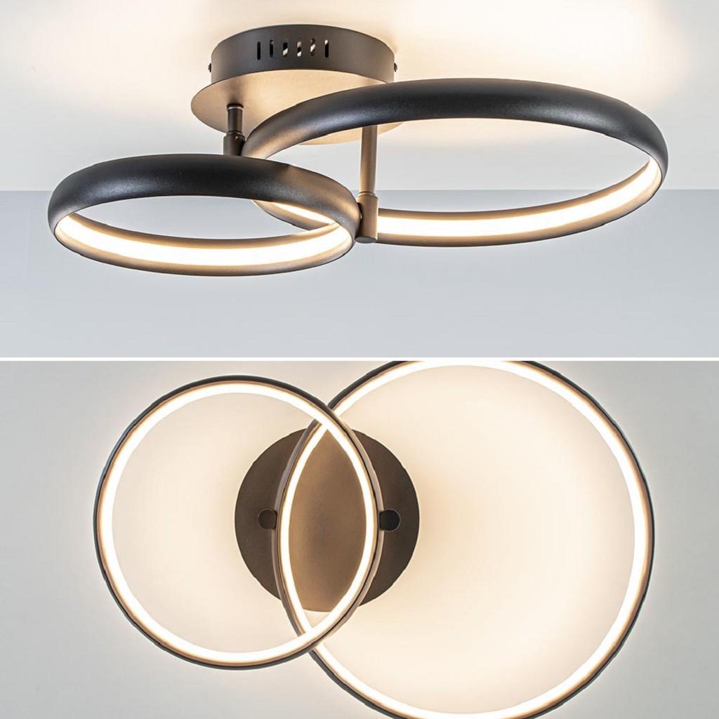 Plafondlamp 2 ringen zwart